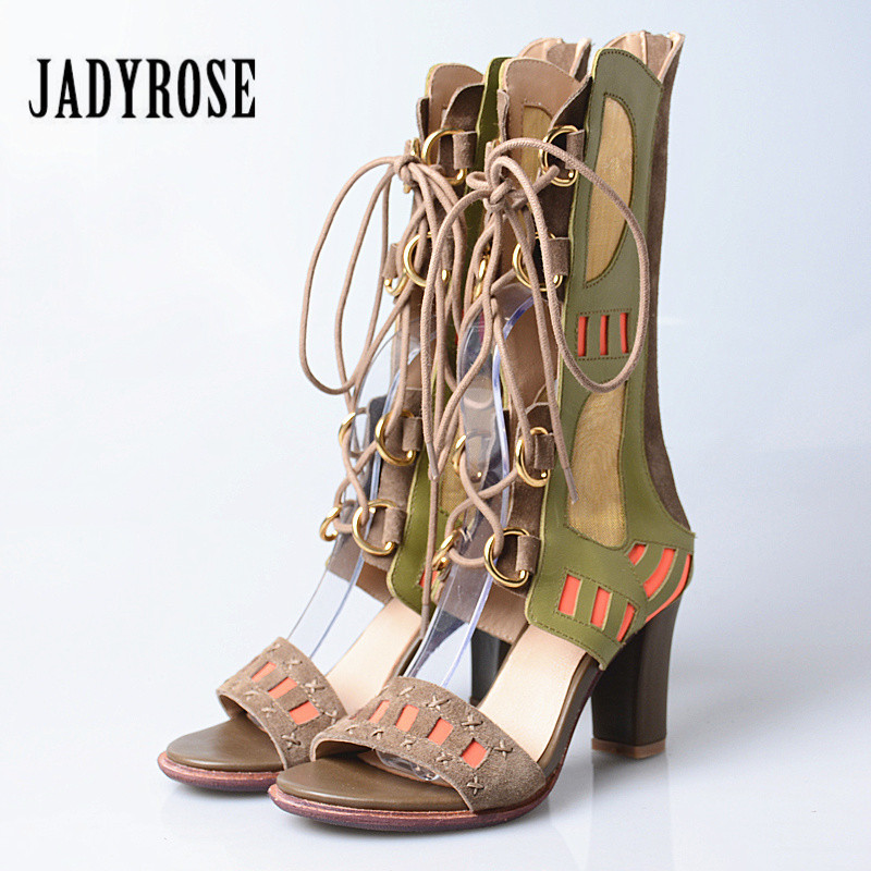 Jady Rose Summer Boots Genuine Leather Lace Up Gladiator Sandals 8CM Chunky High Heels Hollow Out Sandalias Mujer Women Pumps prova perfetto women lace up gladiator sandals chunky high heels hollow out women platform pumps sandalias mujer stiletto