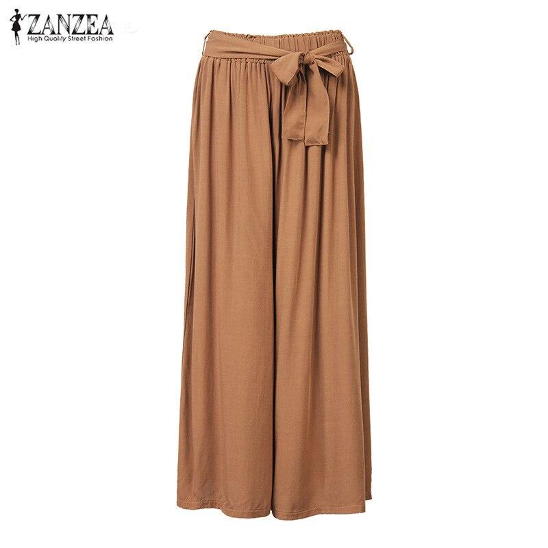 2018 Women Wide Leg Pants Casual Loose Vintage Elastic Waist Trousers Casual Cotton Oversized Solid Long Pants Plus Size 1