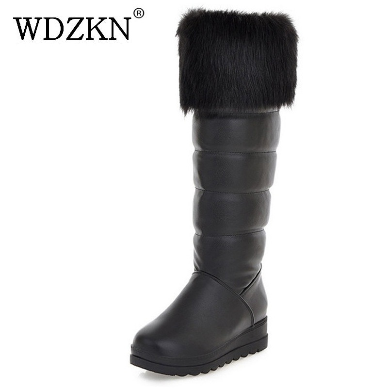 WDZKN Big Size 34-42 Women Wedge Platform Boots 2017 Black White Knee High Snow Boots Women Short Plush Winter Warm Shoes H621 doratasia big size 34 43 women half knee high boots vintage flat heels warm winter fur shoes round toe platform snow boots