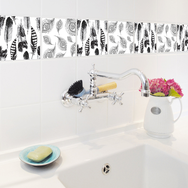 10pcs/set Self Adhesive Wall Decal Black And White Feathers Bathroom  Waterproof Kitchen Anti Oil