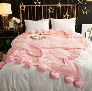 Image 3 - CAMMITEVER 3 גדלים 100% כותנה פום הסרוגה חוט שמיכות לתינוקות מבוגרים גודל תאום מיטת צייד זורק מיטת רצי