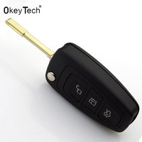 OkeyTech Car Accessories Replacement New 3 Buttons Remote Folding Car Key Case Cover Fob Flip Shell