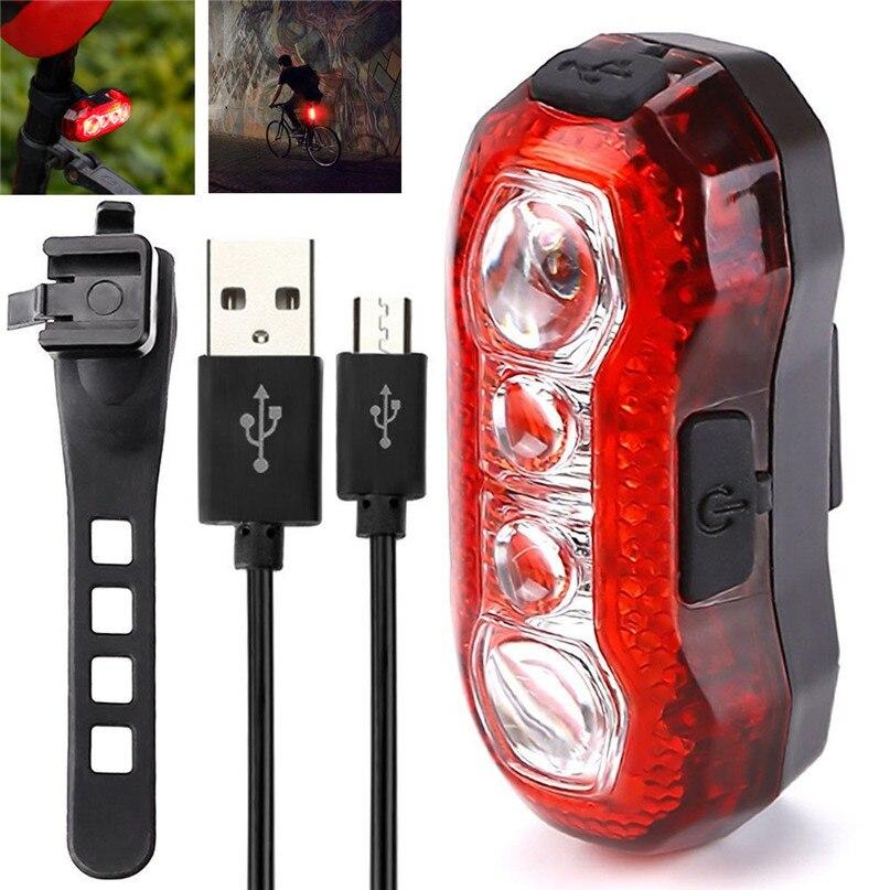 USB recargable luz trasera bicicleta ciclismo LED luz trasera impermeable MTB Carretera bicicleta cola luz lámpara batería incorporada # M24