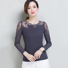 2017 Women Lace Top Shirt Office Blouse Tee Casual Fashion Bodycon Blouses Solid Long Sleeve Mesh Women's Shirts Female Tops