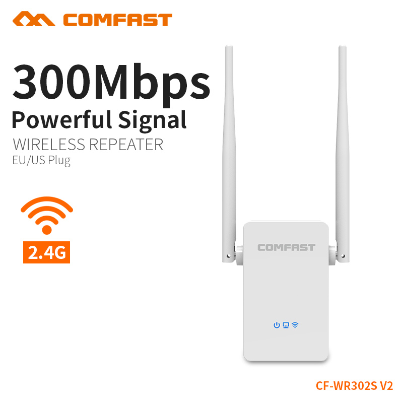 WIFI Repeater 802.11N/B/G Network Adapter2.4G Router Wifi 300M Dual 5dBi Antenna Signal Booster COMFAST CF-WR302S-V2