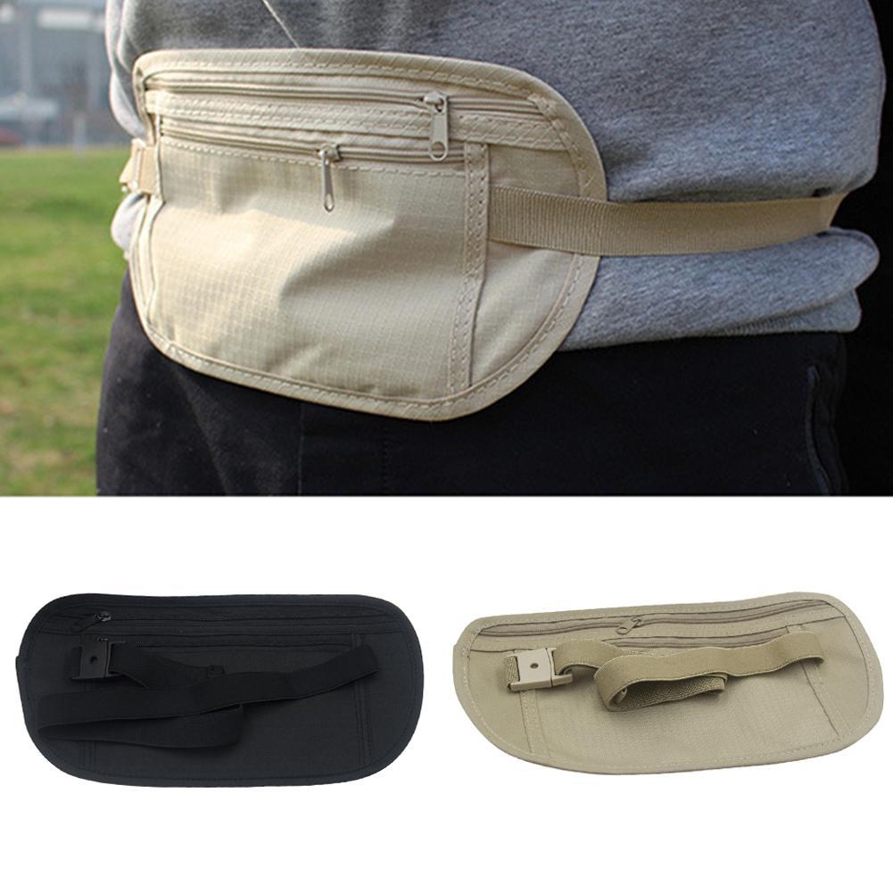 Fanny Bag Waist Belt Hide Money Pouch Travel Black 4 Pocket Canvas Sport