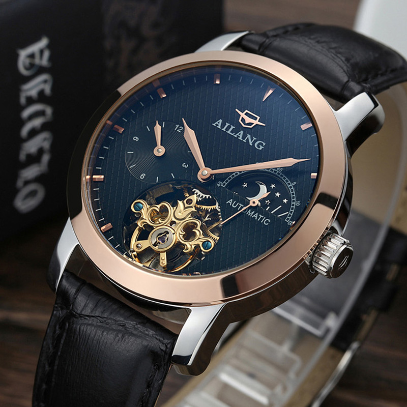 aliexpress com buy new mens watches moon phase mechanical watch aliexpress com buy new mens watches moon phase mechanical watch dive 100m business leather wristwatch top brand luxury ailang relogios from reliable watch