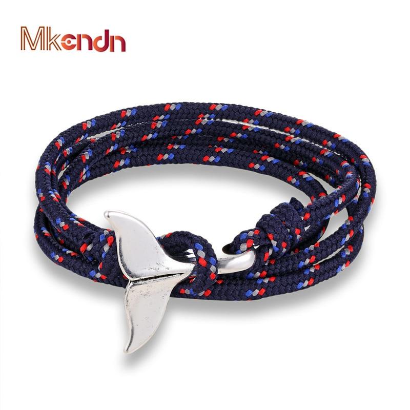 MKENDN New Whale Tail Anchor Bracelets Men Women Charm Nautical Survival Rope Chain Paracord Bracelet Male Wrap Metal Hooks