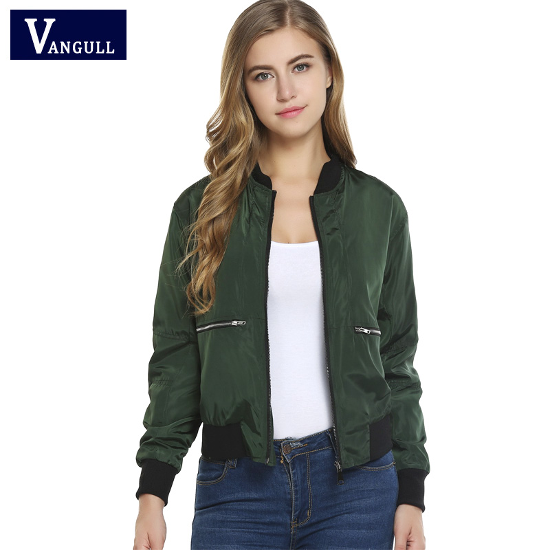 Spring Autumn Women High Quality   Jackets   Fashion   Basic   Bomber   Jacket   Long Sleeve Coat Casual Stand Collar Slim Fit Outerwear