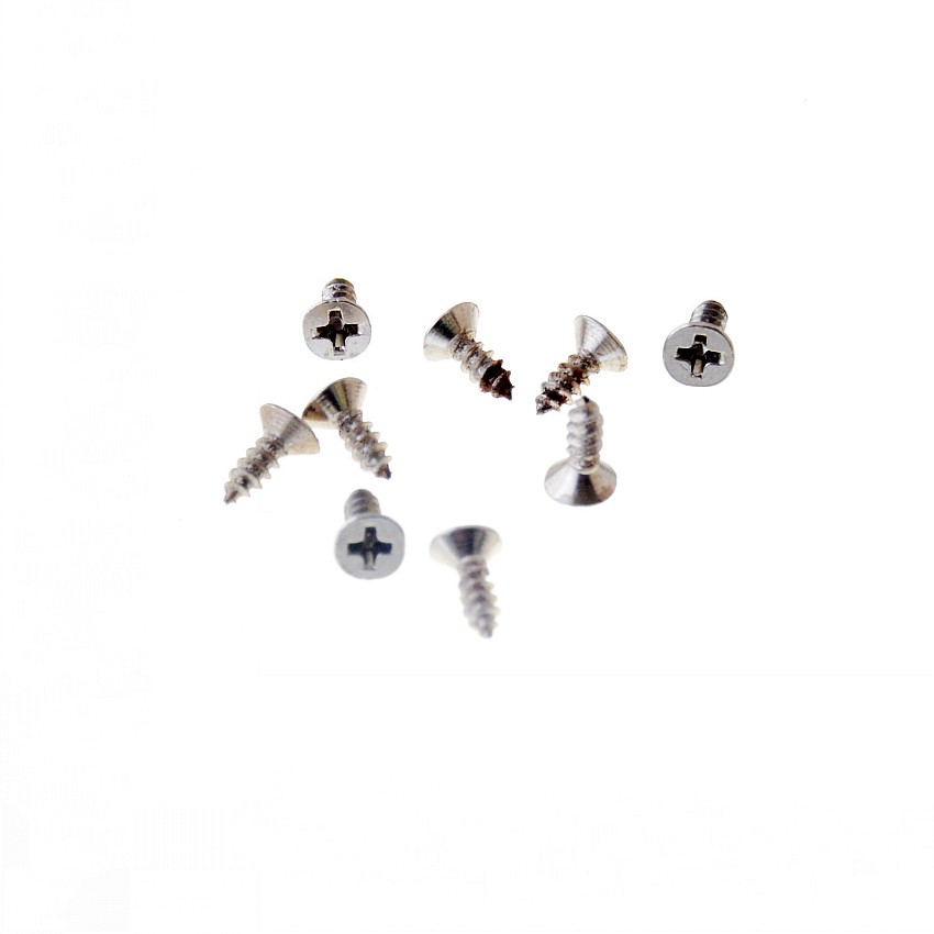 Free Shipping-Hot 200Pcs Silver Tone Fit Hinges Flat Round Head Self-Tapping Phillipws Fasteners Hardware 2*6mm Cusp Screws