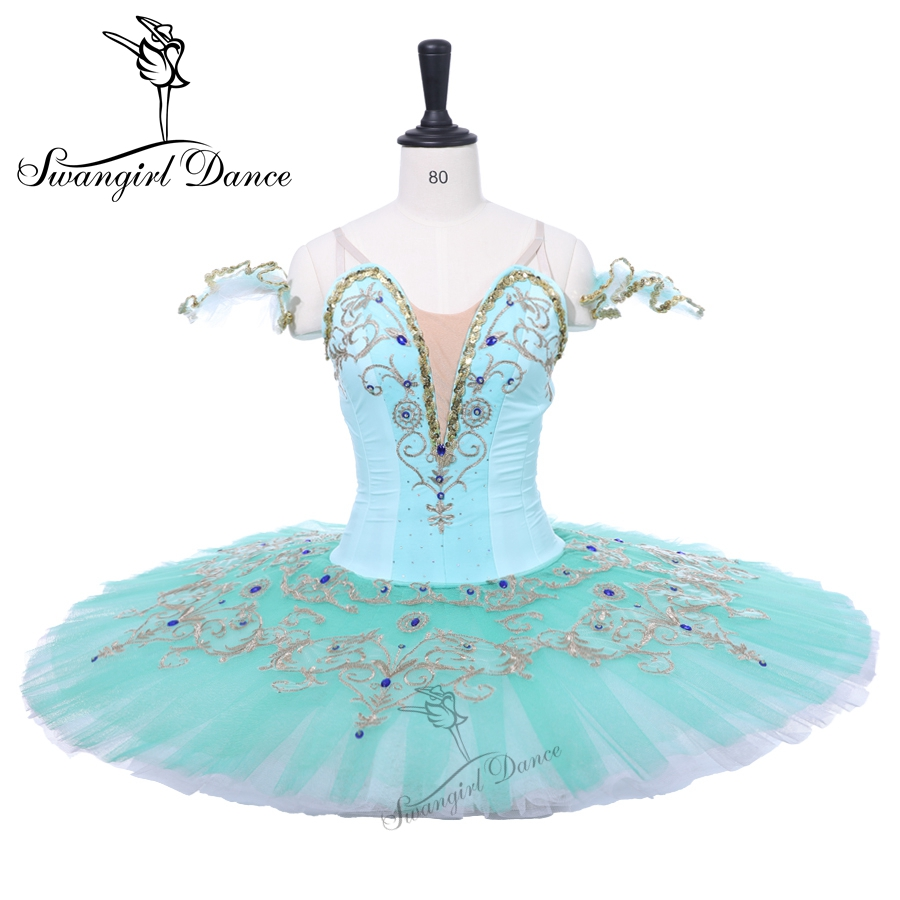 Green Professional Ballet Tutus Adult Pancake Tutu Ballerina Dress Women Custom Made Esmeralda Ballet Costumes BT9234C