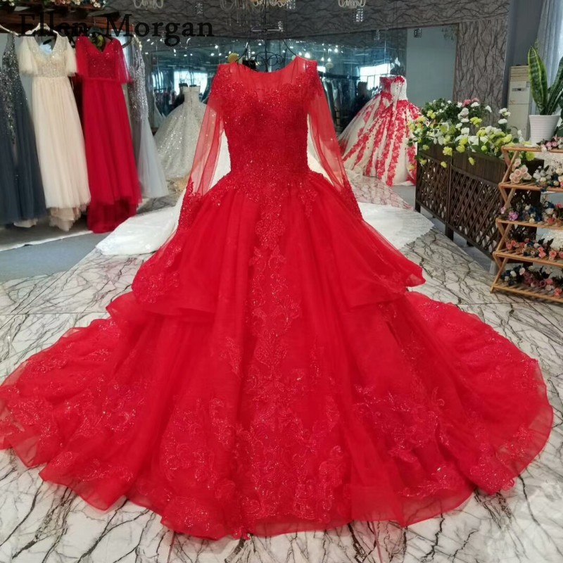 Red Lace Long Sleeves Wedding Dresses 2019 With Beaded