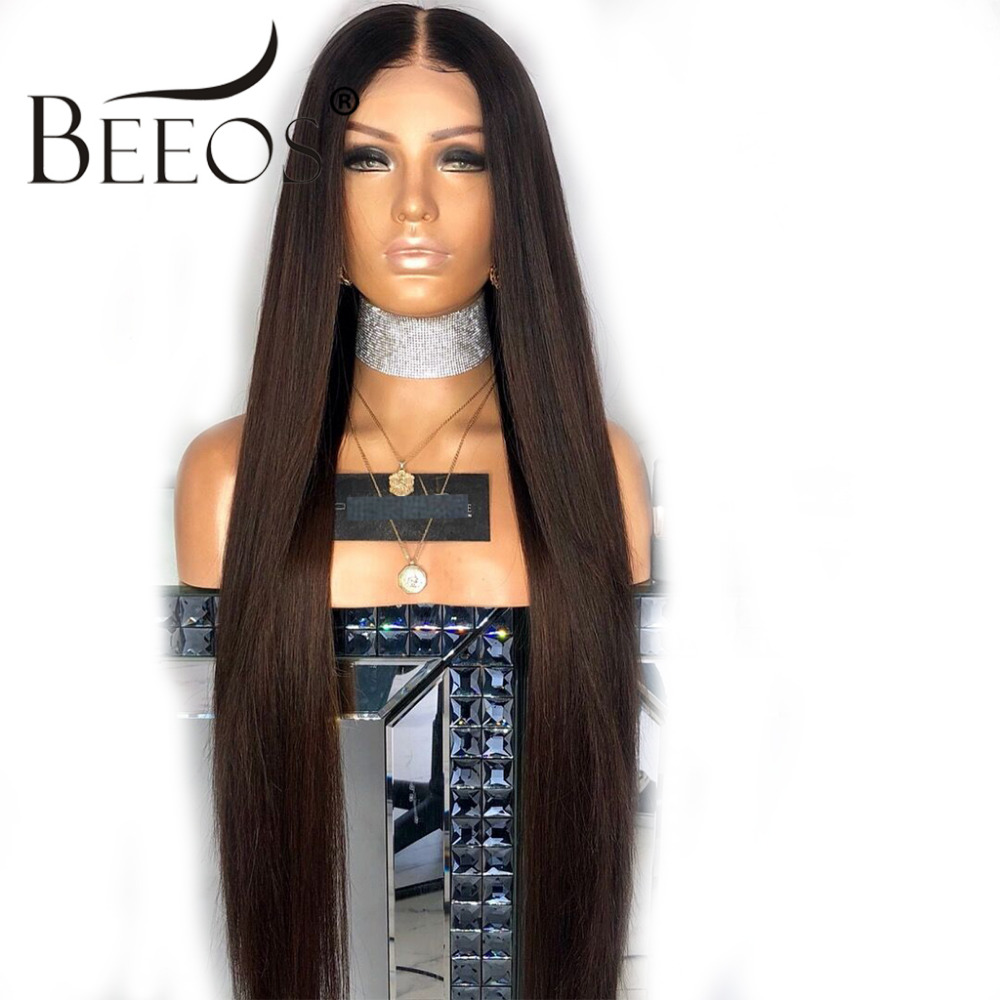 BEEOS 13*6 Deep Part Lace Front Human Hair Wigs 150 Density Straight Pre Plucked with Baby Hair Natural Black Remy Hair Lace Wig