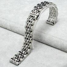 14 mm 16 mm 18 mm 20 mm 22 mm plata acero inoxidable hombres de venda de reloj de la correa doble empuje hebilla reloj pulsera brazalete