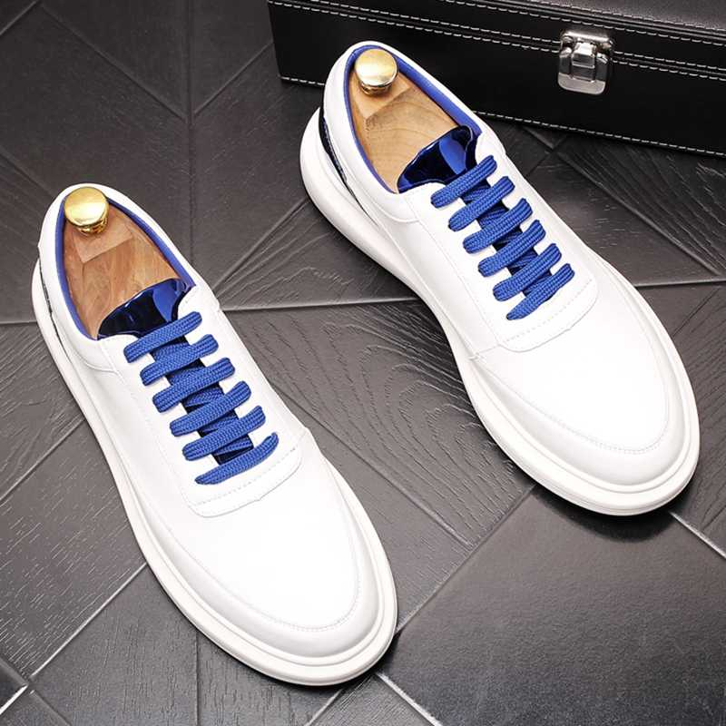 Stephoes 新男性ファッションカジュアル靴夏革ユーストレンド通気性白靴男性厚底レジャースニーカー