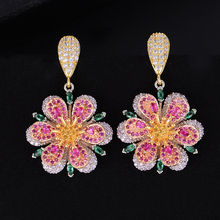 Siscathy Luxury Flower Blossom Earrings Fashion Cubic Zirconia American Wedding Party Dangle Drop for Women