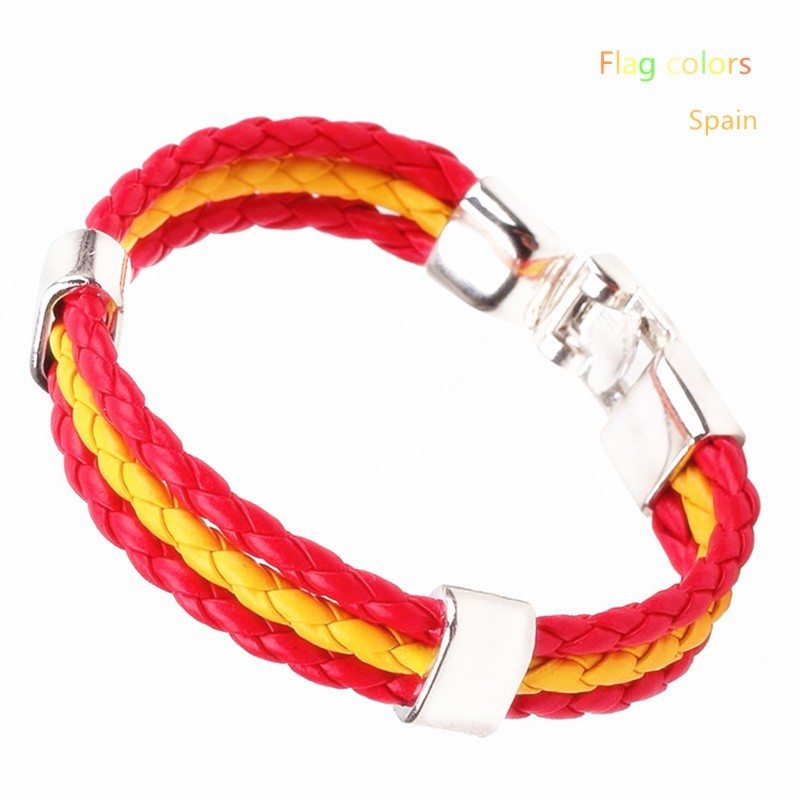 Wholesale Length 21cm 3 Strands Rope Braided Leather Chain & Link Bracelet Men Wristband National Flags Color Sports Bracelets 9