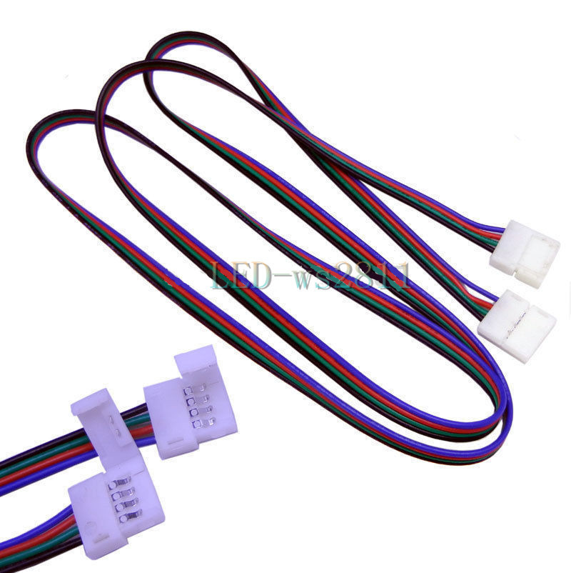 Free shipping 2pcs 1m meter 4pins 4 pin LED RGB cable wire connector extension cord for LED 5050 RGB LED Strip Light LED Tape