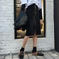 Básico do vintage Zipper Decorado Saia Preta Saia De Camurça Retro Moda Confortáveis das Mulheres Roupas de Inverno