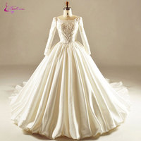 Waulizane Luxurious Soft Taffeta Scoop Princess Wedding Dresses Chapel Train Full Sleeves Beading Pearls Ball Gown