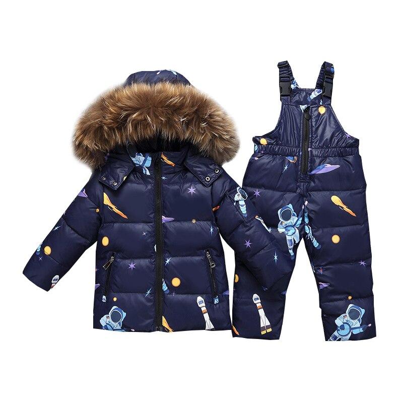 2018 Girls Clothes Winter Fashion Warm Down Sets Kids Clothes Boys Jacket+Jumpsuit Pants 2pcs Suits Children Fur Hooded Set
