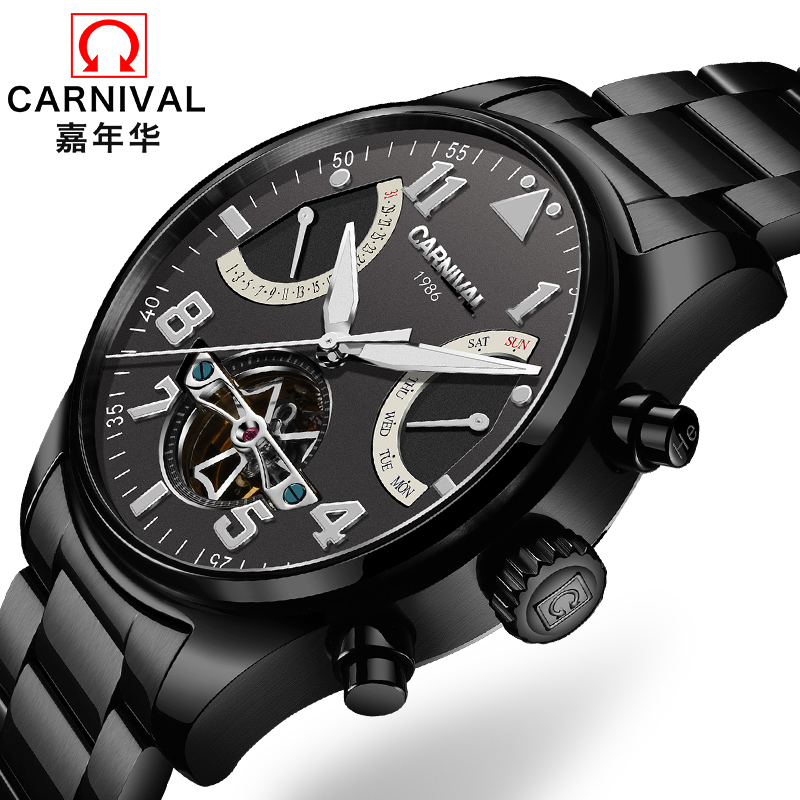 Switzerland Carnival Brand Luxury Mens Watches Multi-function Watch Men Sapphire reloj hombre Luminous relogio Clock C8783-7 wrist switzerland automatic mechanical men watch waterproof mens watches top brand luxury sapphire military reloj hombre b6036