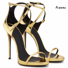 Aiyoway Women Shoes Peep Toe High Heels Sandals Cover Heel Ankle Buckle Cross Straps Spring Summer Ladies Party Shoes Gold 2019