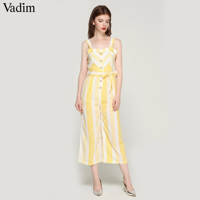 934871b954 Vadim women sweet striped sleeveless jumpsuits bow tie sashes pockets  straps rompers ladies streetwear chic playsuits KA092