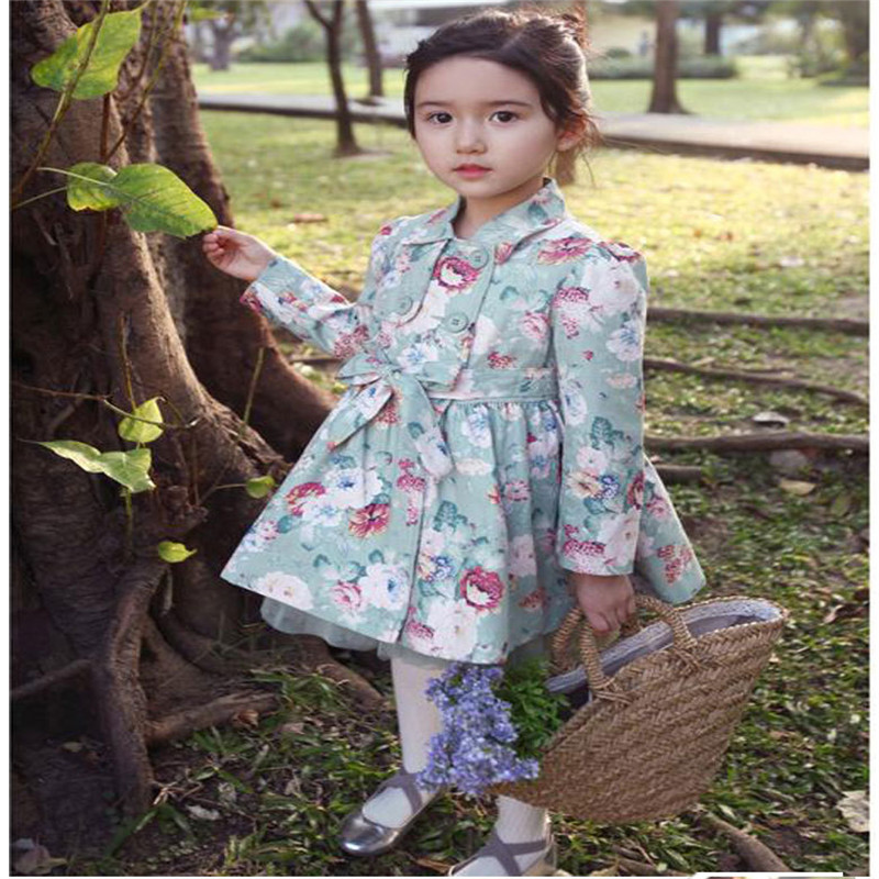Fashion 2016 New Girls Clothes Floral Blazer Trench Coat Baby Outerwear Coats Spring Autumn Children s