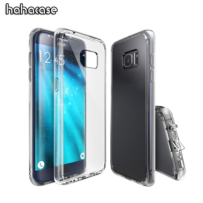 Hybrid Hard PC Acrylic Back Soft TPU Frame Case For Samsung Galaxy S9 S8 Plus S7 S6 Edge Note 8 5 4 Clear With Dust Plug Cover