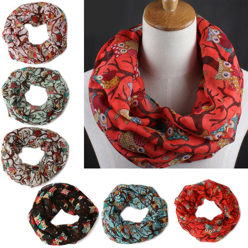 1pcs Fashion Women Vintage Owl Pattern Print Long Soft Cotton Voile   Scarf   Shawl   Wrap     Scarves
