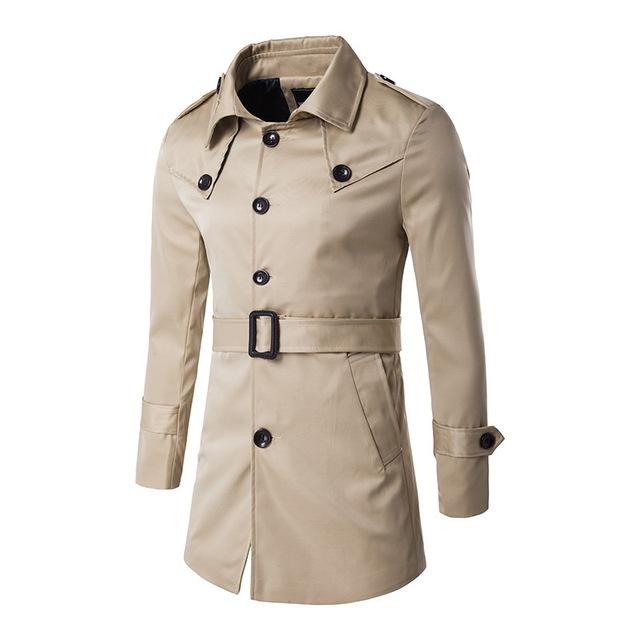 2017 outono e inverno nova bolsa de ombro clássico emblema decoração Casaco trench coat dos homens Projeto Especial Caixilhos Moda Desgaste Do Partido