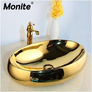 Monite Solid Brass Golden Luxury Ceramic Lavatory Bathroom Tap Washbasin Basin Sink Set Bath Combine Mixer Faucet(China)