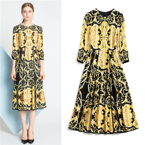 luxury brand style women's clothing high quality runway yellow pattern black midi dresses three quarter sleeve midi dress summer