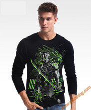 Cool Design Watch Over OW Genji T-shirts Blizzard OW Game Hero Tshirts Long Sleeve Black Tees For Mens Boys