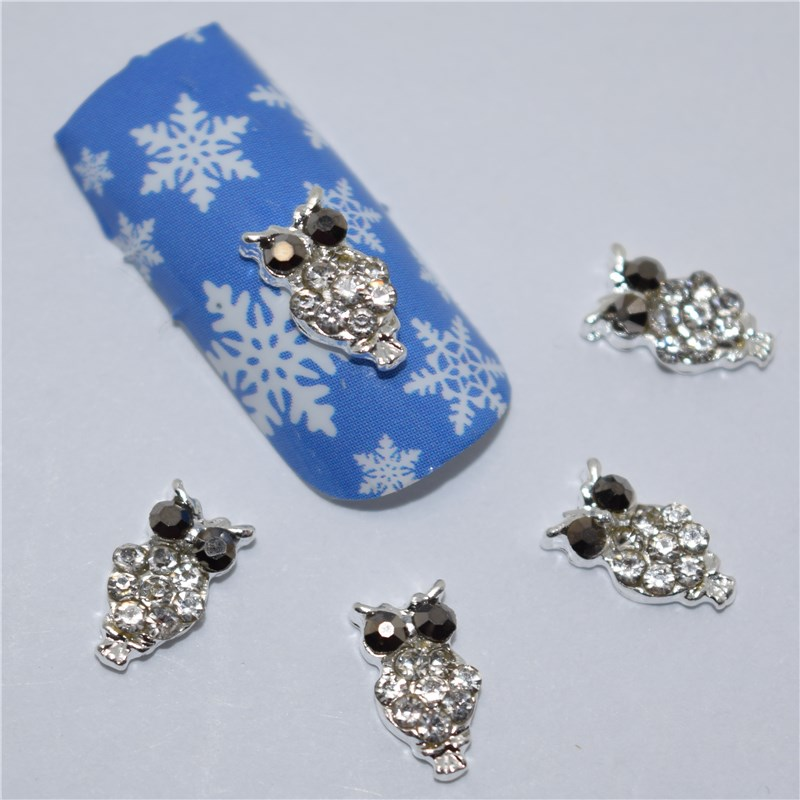 10pcs 3d nail jewelry decoration nails art glitter rhinestone for manicure  Silver Owl design nail accessories tools #295 rhinestone bow 3d art resin nail decoration 60pcs mix candy color cute bowknot nails tip accessories phone decoration