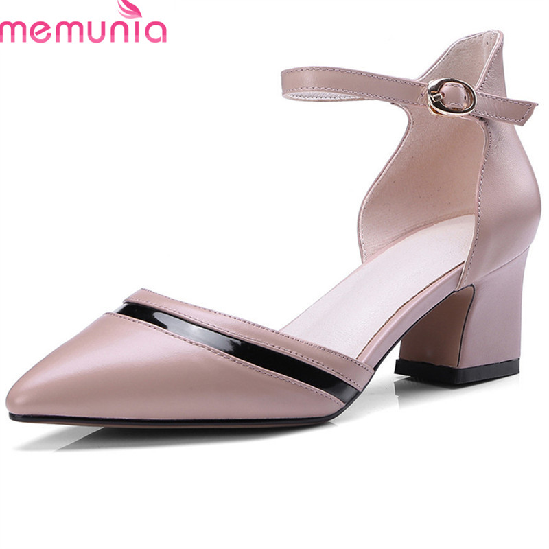 MEMUNIA 2018 new arrivel genuine leather summer shoes pointed toe pumps women shoes simple buckle high heel party wedding shoes summer women high heel shoes women pumps genuine leather pointed toe buckle crystal women square heel fashion party shoes