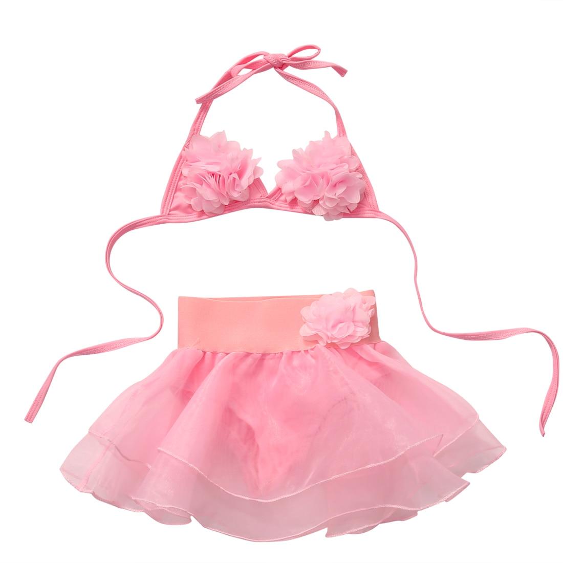 Black Friday Deals New 2017 Summer Kids Baby Girls Lace Pink Bikini Suit Set Swimsuit Swimwear Swimming Clothes