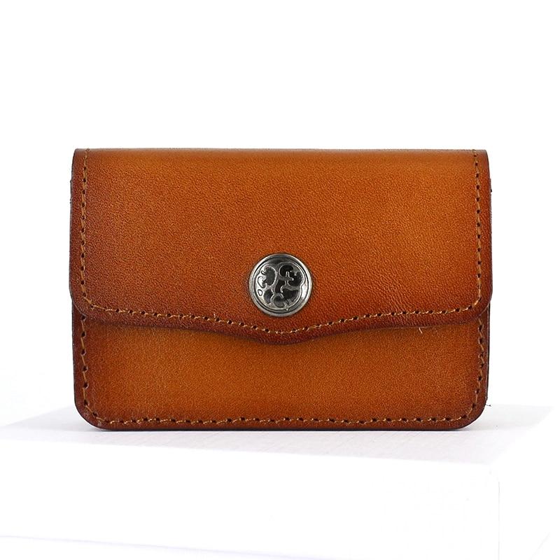 Nama kad pemegang lembu Kredit kulit Dompet duit syiling & Pemegang Hasp Pouch Kad Perniagaan kes Penganjur Perubahan Vintage Mini Dompet