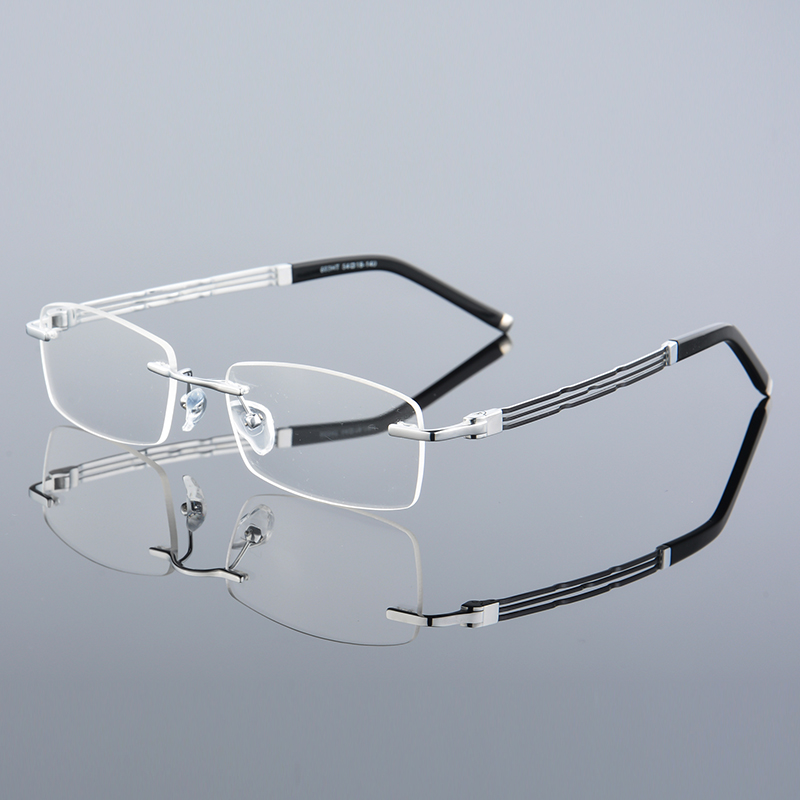 XINZE pure Titanium Eyeglasses Men Frames Rimless Glasses Myopia ...