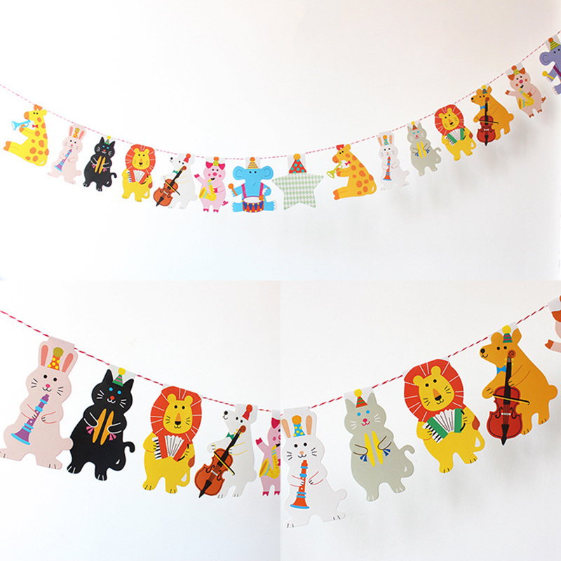 2M Forest Concert Baby Shower Cartoon Animal Garland Striped Paper Flags Banner Decor Kids Birthday Party Supplies fonksiyonlu rende