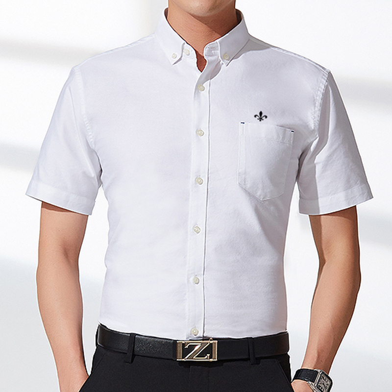 Image 3 - DUDALINA Men's Short Sleeve Shirt NEW Oxford solid color Shirt Homens Casual Fashion Turn Down Collar Camiseta Pluss Size M 5XL-in Casual Shirts from Men's Clothing