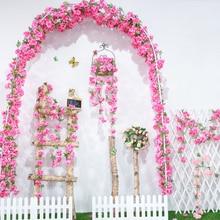 цена yumai 235cm Long String Silk Cherry Blossom Flowers Rattan Wedding Wall Hanging Artificial Flowers Vines Decorative Crafts онлайн в 2017 году