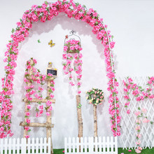 yumai 235cm Long String Silk Cherry Blossom Flowers Rattan Wedding Wall Hanging Artificial Flowers Vines Decorative Crafts(China)
