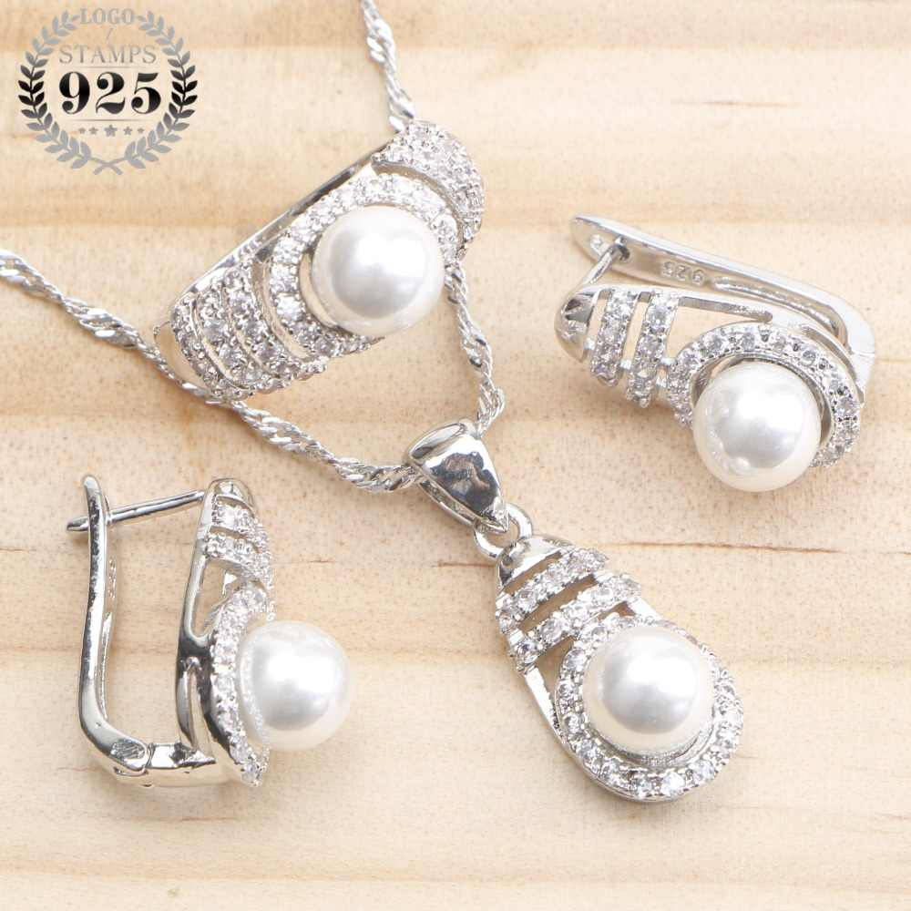 Bridal Pearl Silver 925 Jewelry Sets For Women Earrings Costume Wedding Jewelry Pearls White Zircon Ring Pendant Necklace Set