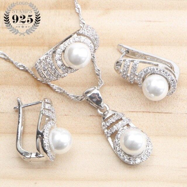 793cef9c6170 Низкая цена Свадебный с жемчугом Серебро 925 комплекты украшений для ...