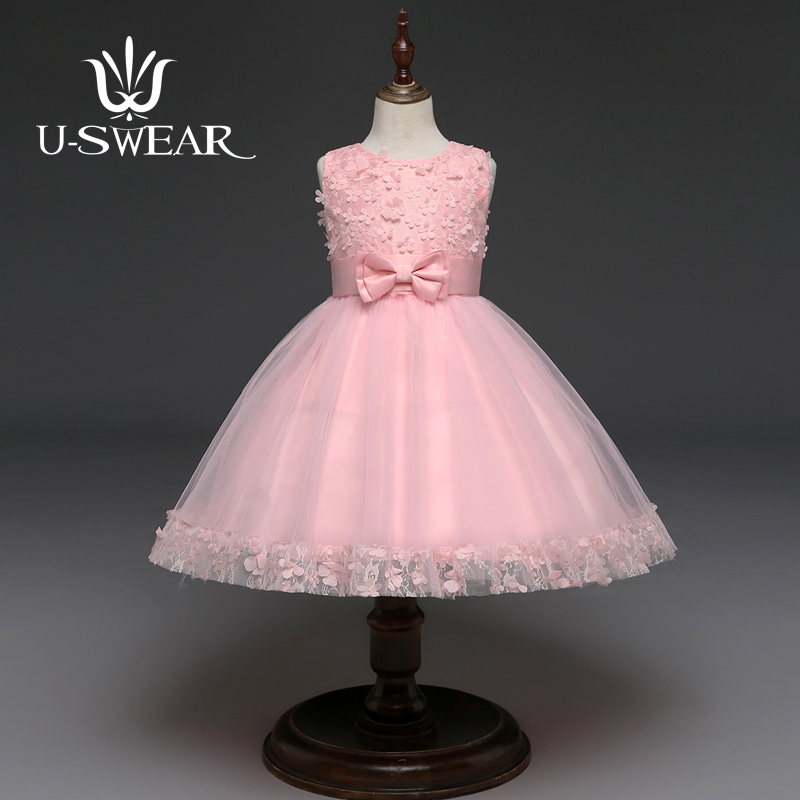 U-SWEAR 2019 New Arrival Kid Elegant   Flower     Girl     Dresses     Flower   Lace Appliqued Bow Sleeveless   Girls   Ball Gown Vestidos