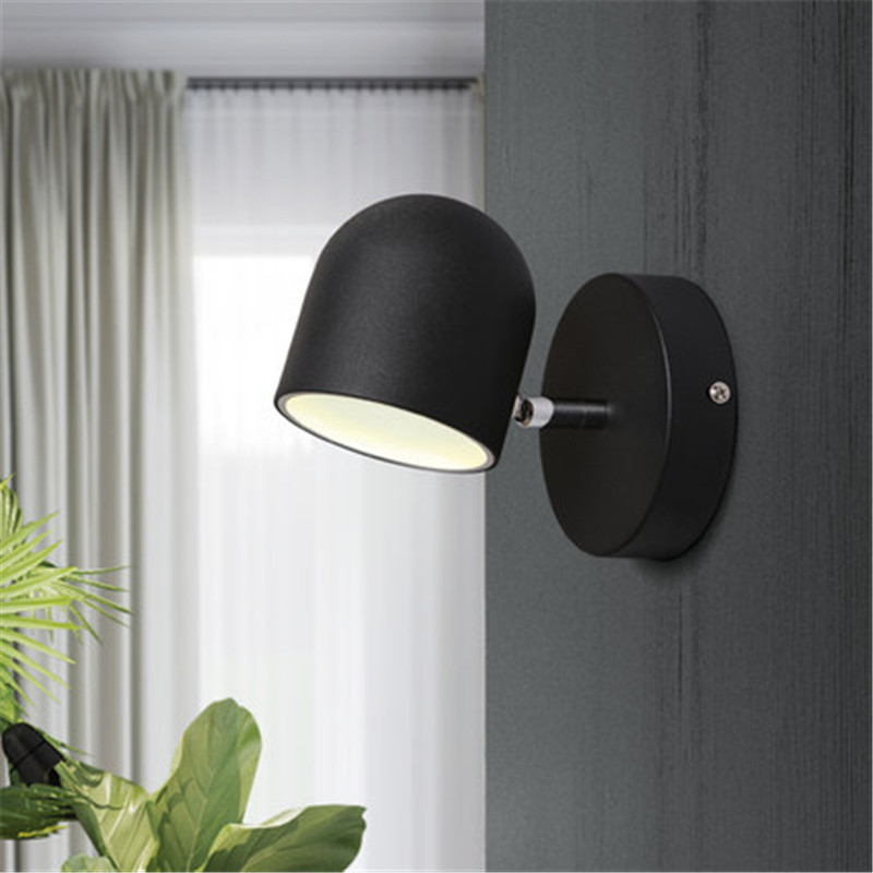 Simple Modern LED Wall Lamp Touch Switch Creative Rotation Wall Sconce Adjust Bedside Wall Light Fixtures Indoor Lighting simple modern led wall lamp reading switch adjust wall light fixtures home fabric shade bedside wall sconce indoor lighting