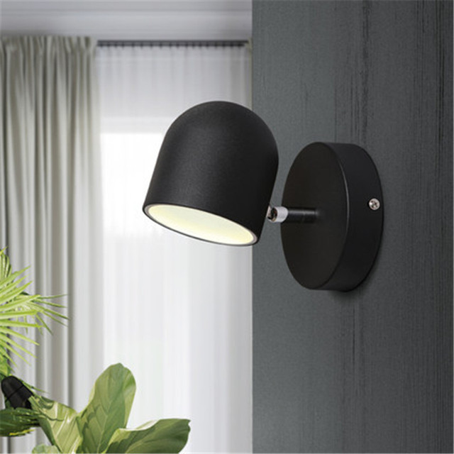 Simple Modern LED Wall Lamp Touch Switch Creative Rotation Wall Sconce Adjust Bedside Wall Light Fixtures Indoor Lighting