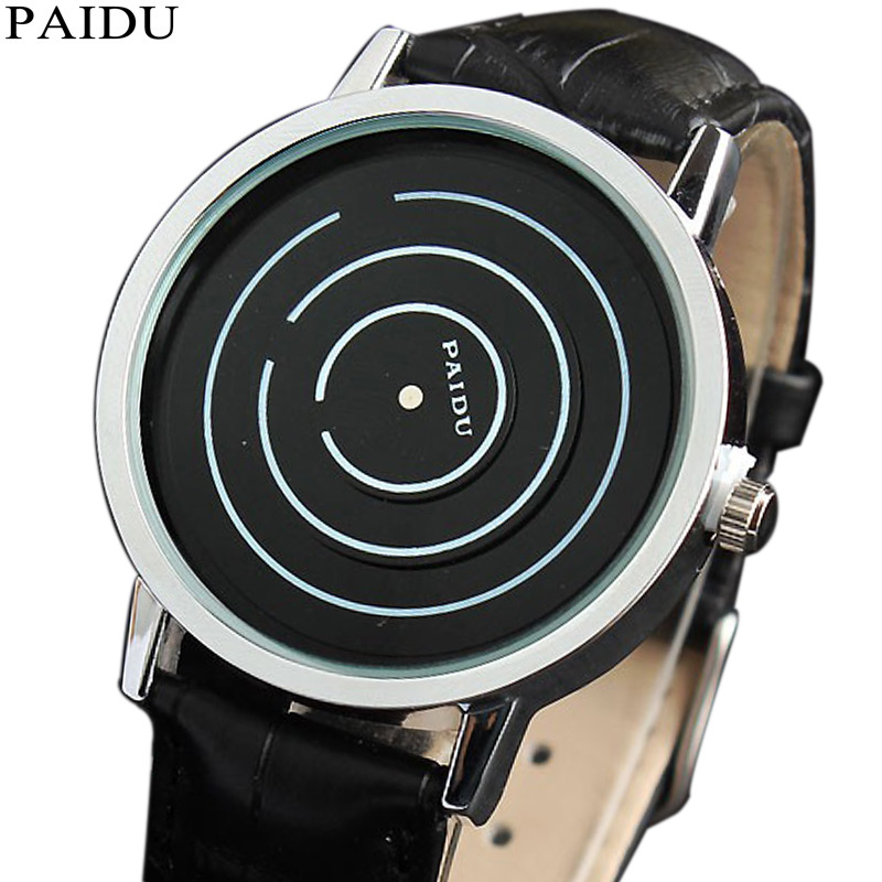 Unique Circle Turntable Dial Creative Watches For Men Women Soft Leather Strap Quartz Wrist Watches Couple Watch Gift